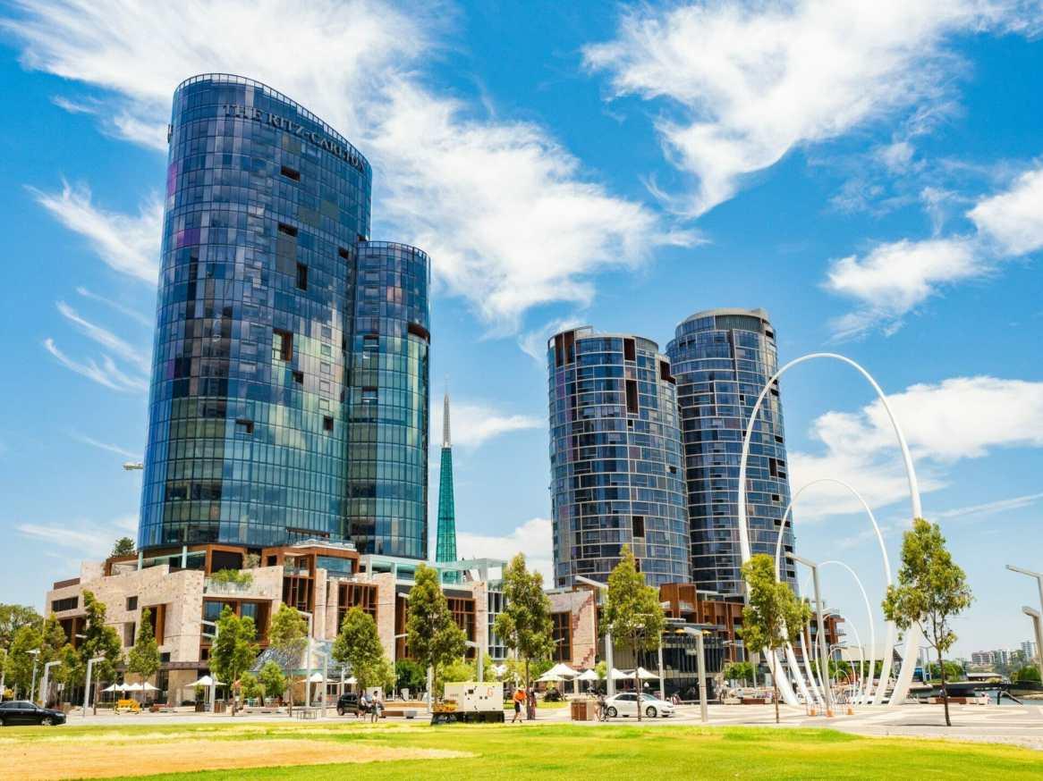 City buildings Elizabeth Quay Perth Western Australia