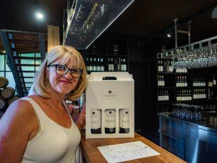 Mum buying wine at Vasse Felix