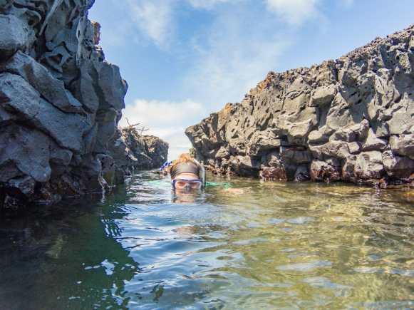 Woman snorkelling through lava tunnel at Las Tintoreras