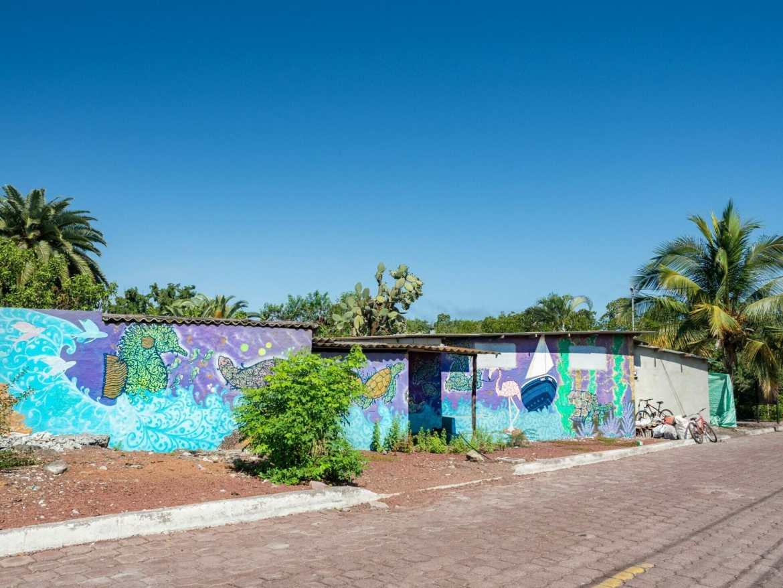 Colourful marine mural in Puerto Ayora Santa Cruz