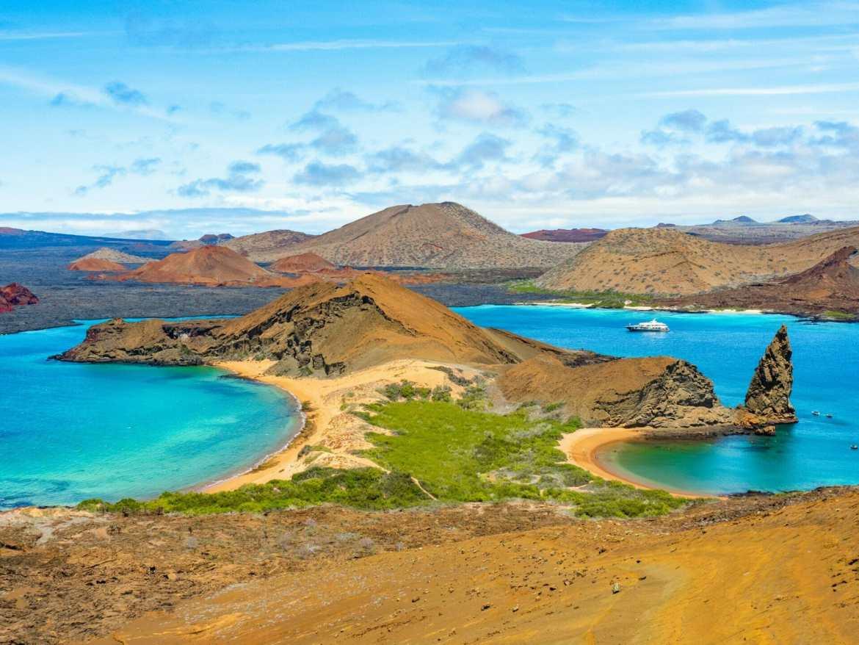 Volcanos and blue ocean on Isla Bartolomé Galapagos
