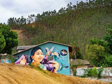Street art graffiti of indigenous woman in Otavalo Ecuador