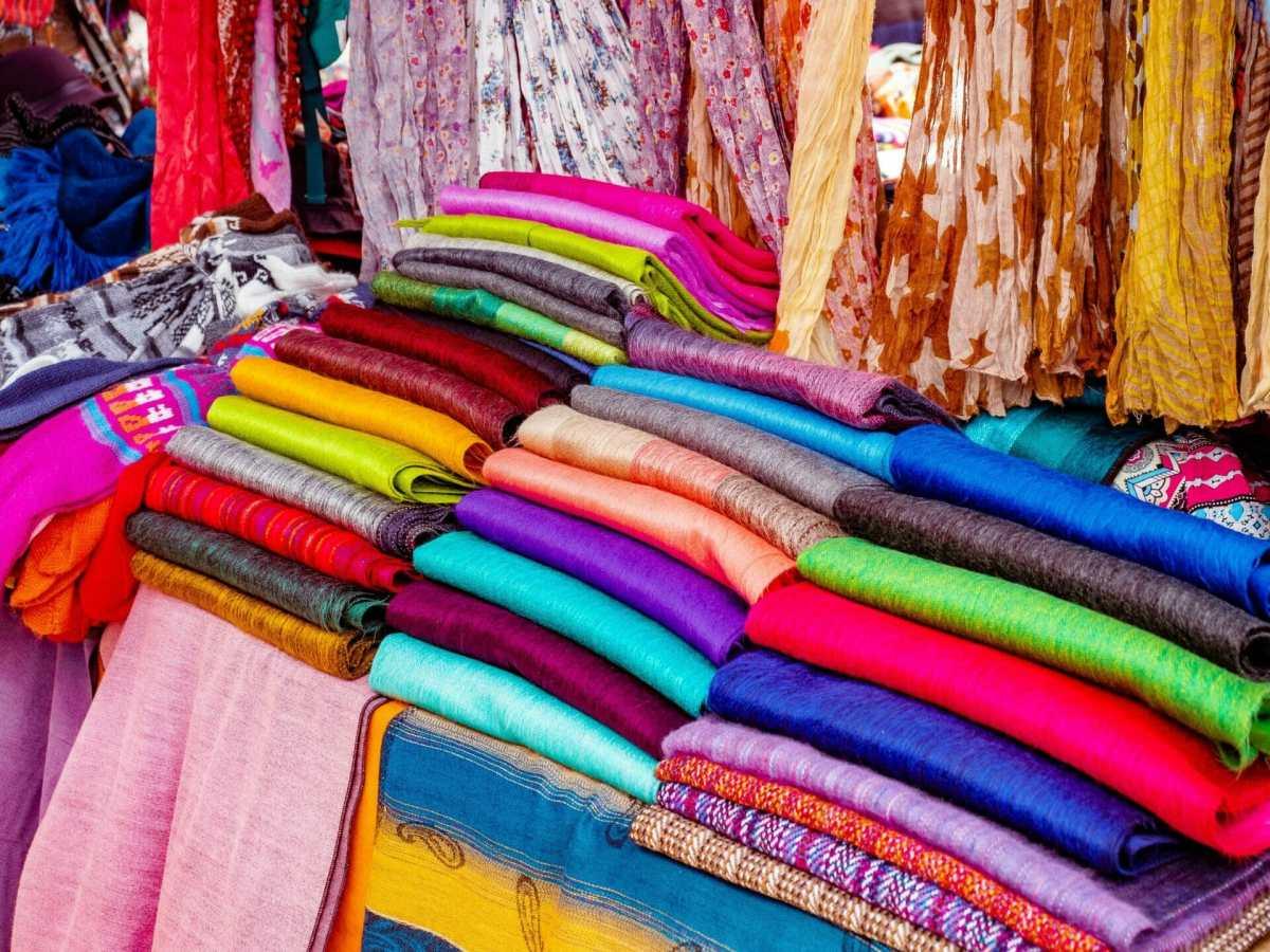Colourful alpaca scarves at Otavalo Market in Quito