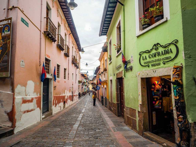 Colourful street Calle de La Ronda in Quito