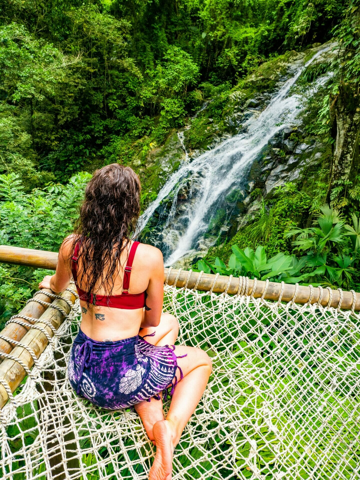 girl in hammock waterfall Cascada Marinka Minca Colombia