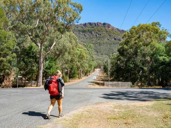 Walking along the road to Halls Gap