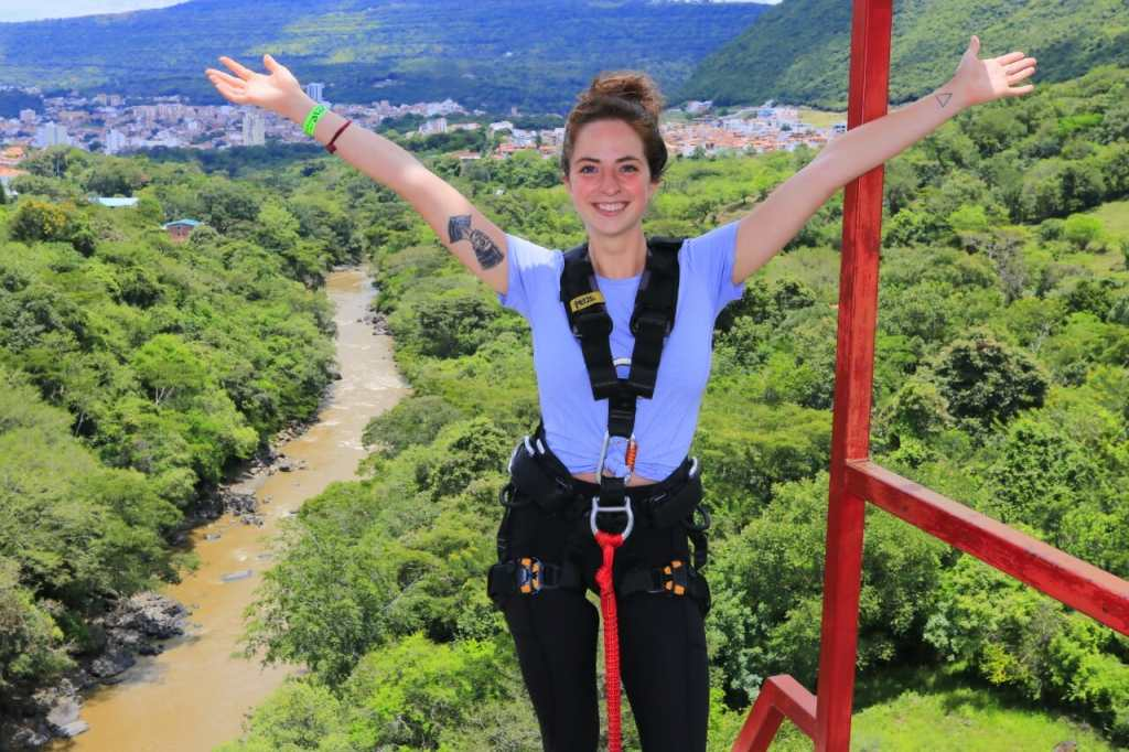 Girl bungy jumping San Gil Colombia