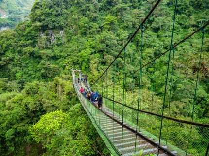 Walking across a bridge Baños Ecuador