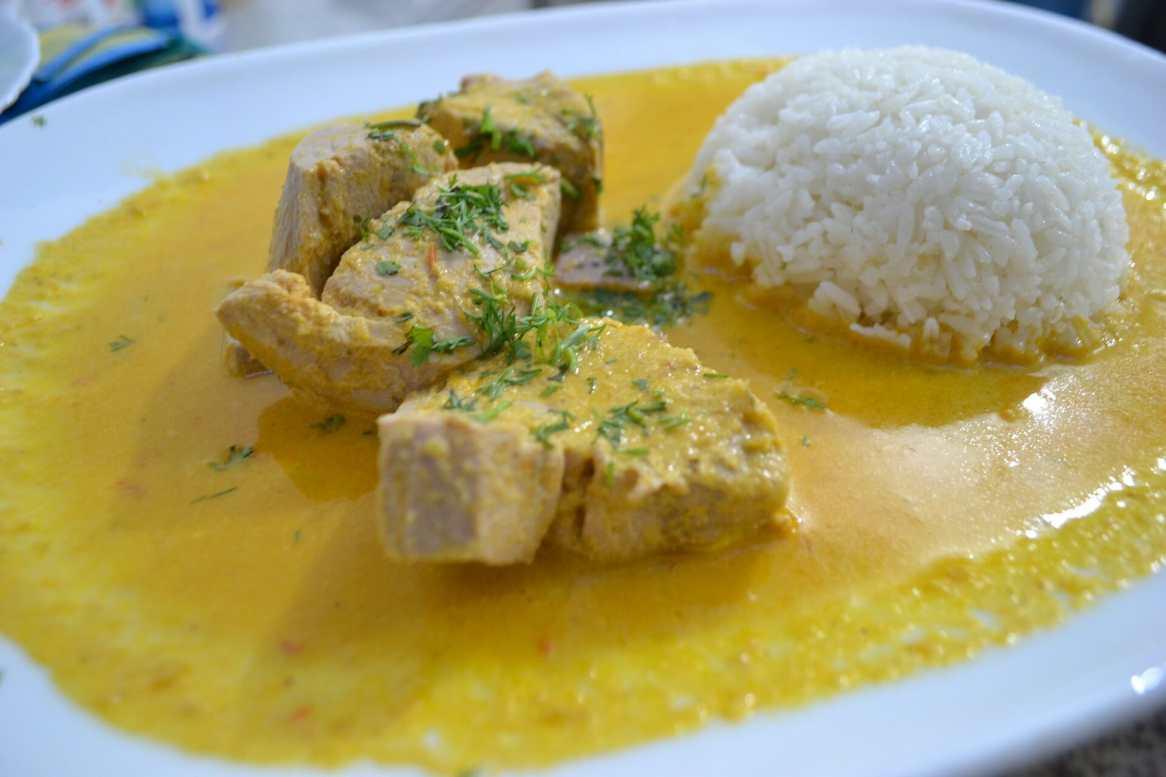 Traditional Ecuadorian fish and rice meal