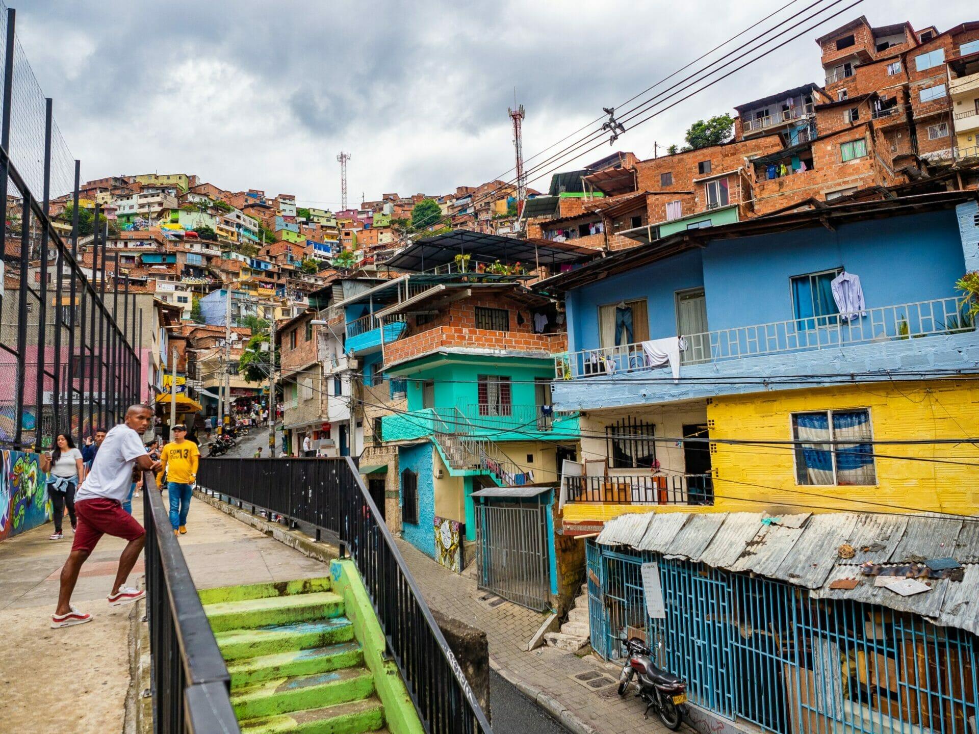 Colourful street barrio Comuna 13 Medellin Colombia