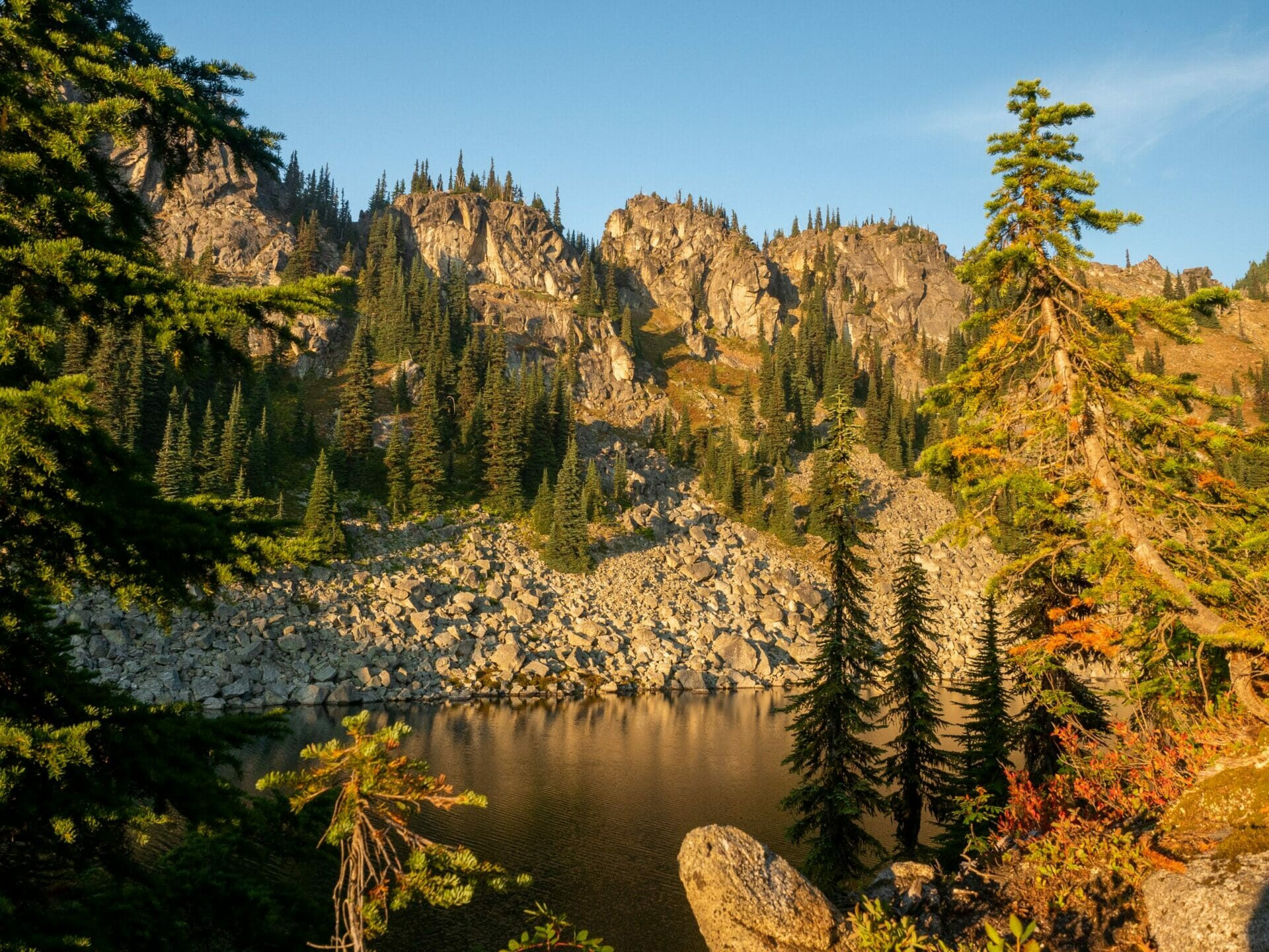 Girl hiking autumn Alpine Lakes Wilderness
