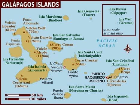 Map of Galápagos Islands
