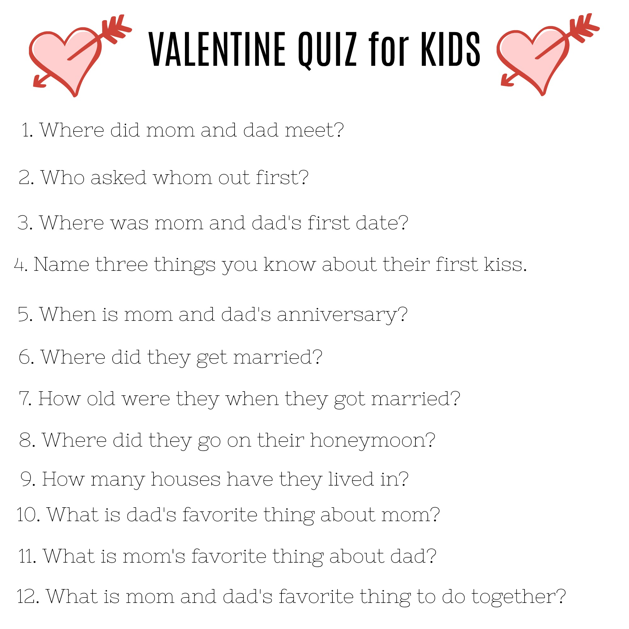 A Family Valentine S Day And A Valentine Quiz For Kids