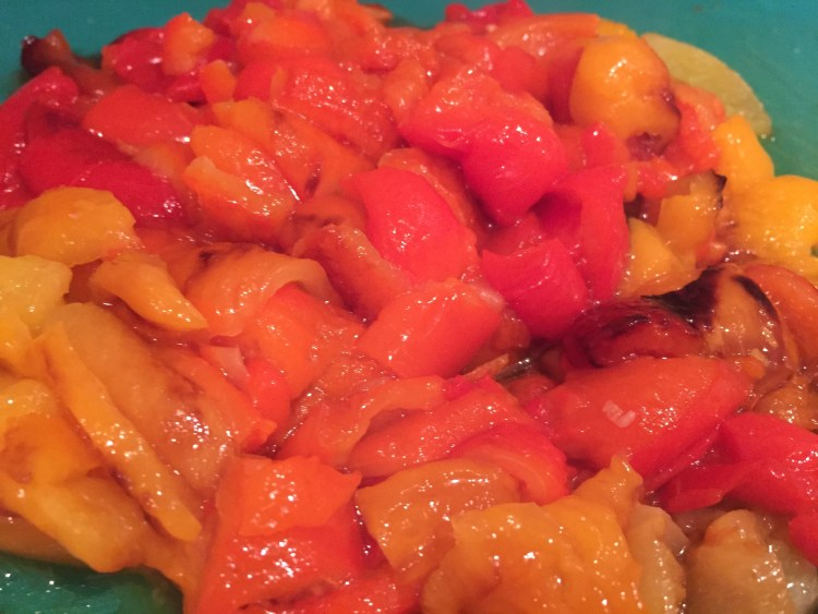 how to skin roasted peppers
