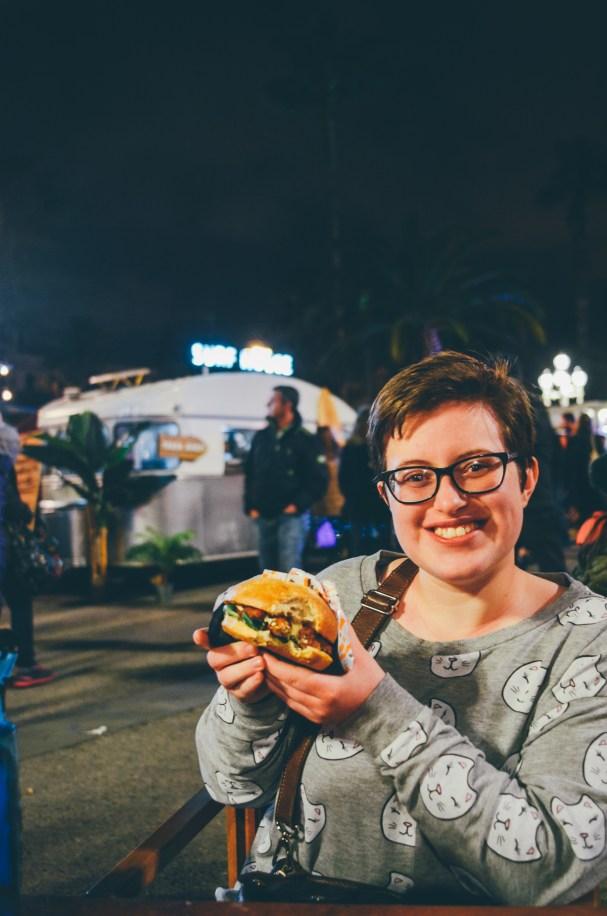 Enjoying a burger...