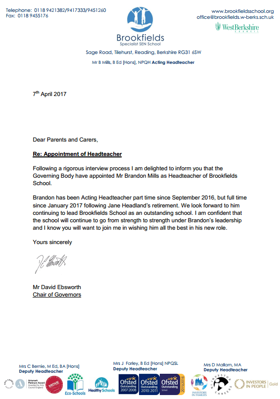headteacher appointment letter