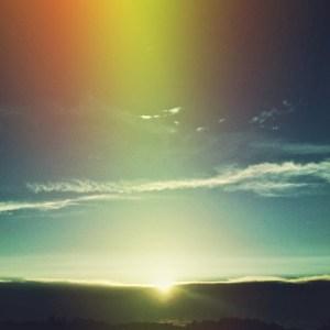 sunrise with rainbow effect