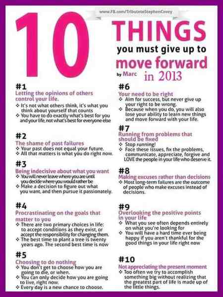 10 Things You Must Give Up to Move Forward {Infographic}