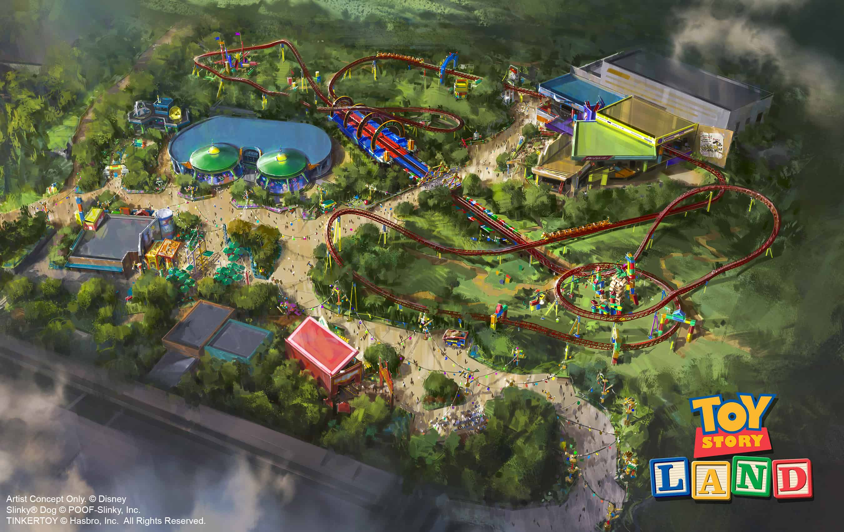 The reimagining of Disney's Hollywood Studios will take guests to infinity and beyond, allowing them to step into the worlds of their favorite films, starting with Toy Story Land. This new 11-acre land will transport guests into the adventurous outdoors of Andy's backyard. Guests will think they've been shrunk to the size of Woody and Buzz as they are surrounded by oversized toys that Andy has assembled using his vivid imagination. Using toys like building blocks, plastic buckets and shovels, and game board pieces, Andy has designed the perfect setting for this land, which will include two new attractions for any Disney park and one expanded favorite. (Disney Parks)