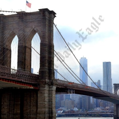 A view of the Brooklyn Bridge from atop the Empire Stores. - Brooklyn Archive
