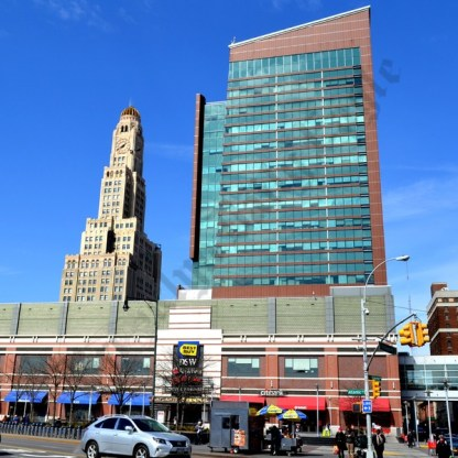 Sitting in the shadow of the Williamsburg Savings Bank is the Atlantic Terminal Mall. - Brooklyn Archive