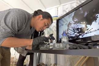 Department of Biology assistant Zachary Jules Rebong examines microscopic forms drawn from Newtown Creek. - Brooklyn Archive