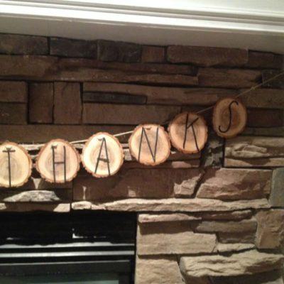 Natural Holiday – Give Thanks Wood Banner