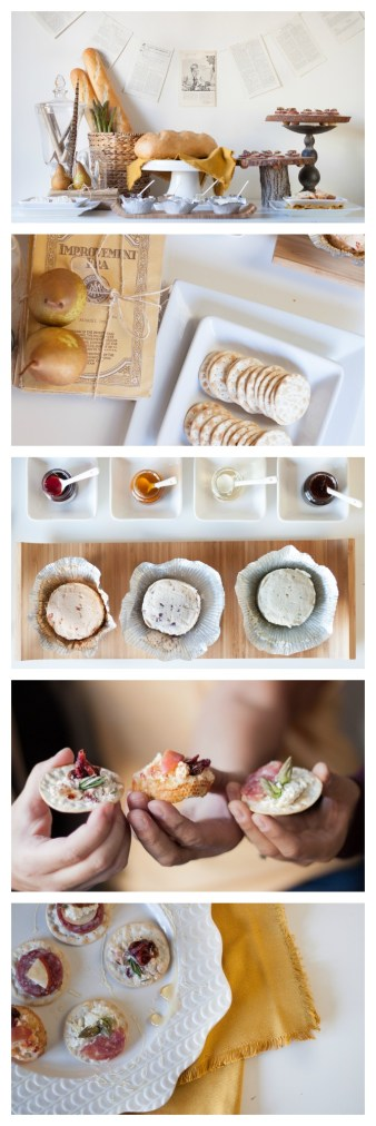 Boursin Book Club - let your guests build their own canapes using Boursin cheese and a variety of other toppings.