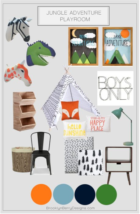 Jungle Adventure Playroom using Target's Pillow Fort collection