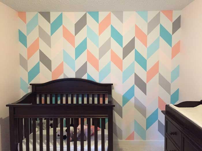 Creative Bedrooms peach and teal nursery