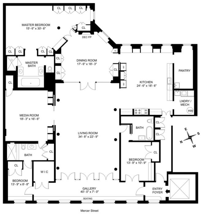 Floor plan in Meg Ryans Soho Loft