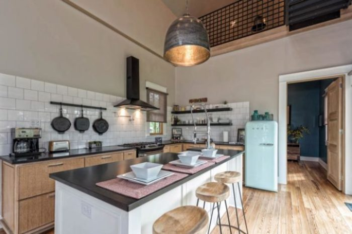 Fixer Upper Shotgun House kitchen with mint green smeg fridge