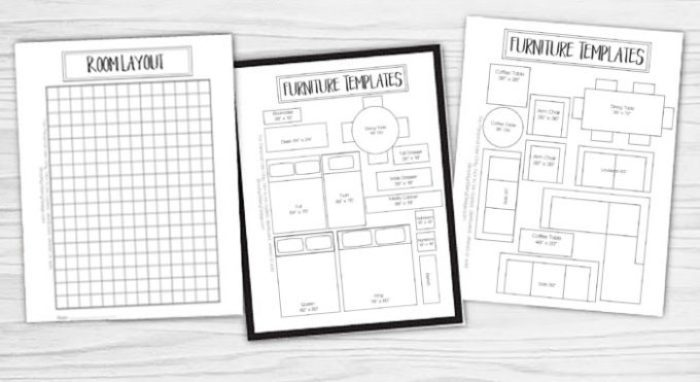 pages included in the free printable room planner - room layout and furniture templates.