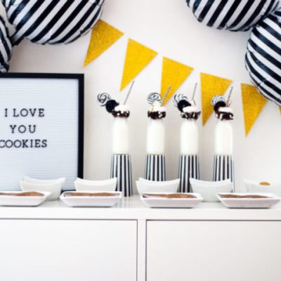 Black and White Valentines Day Party Decor