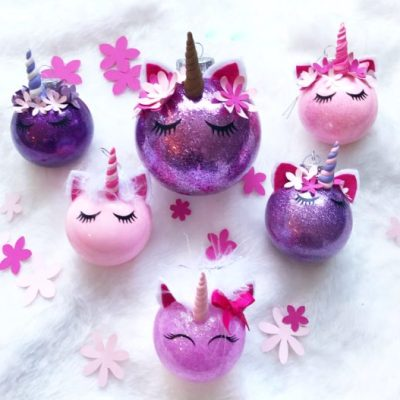 Make Your Own Glitter Unicorn Ornaments