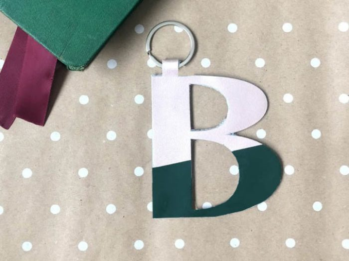 Leather monogram keychains - an easy cricut gift.