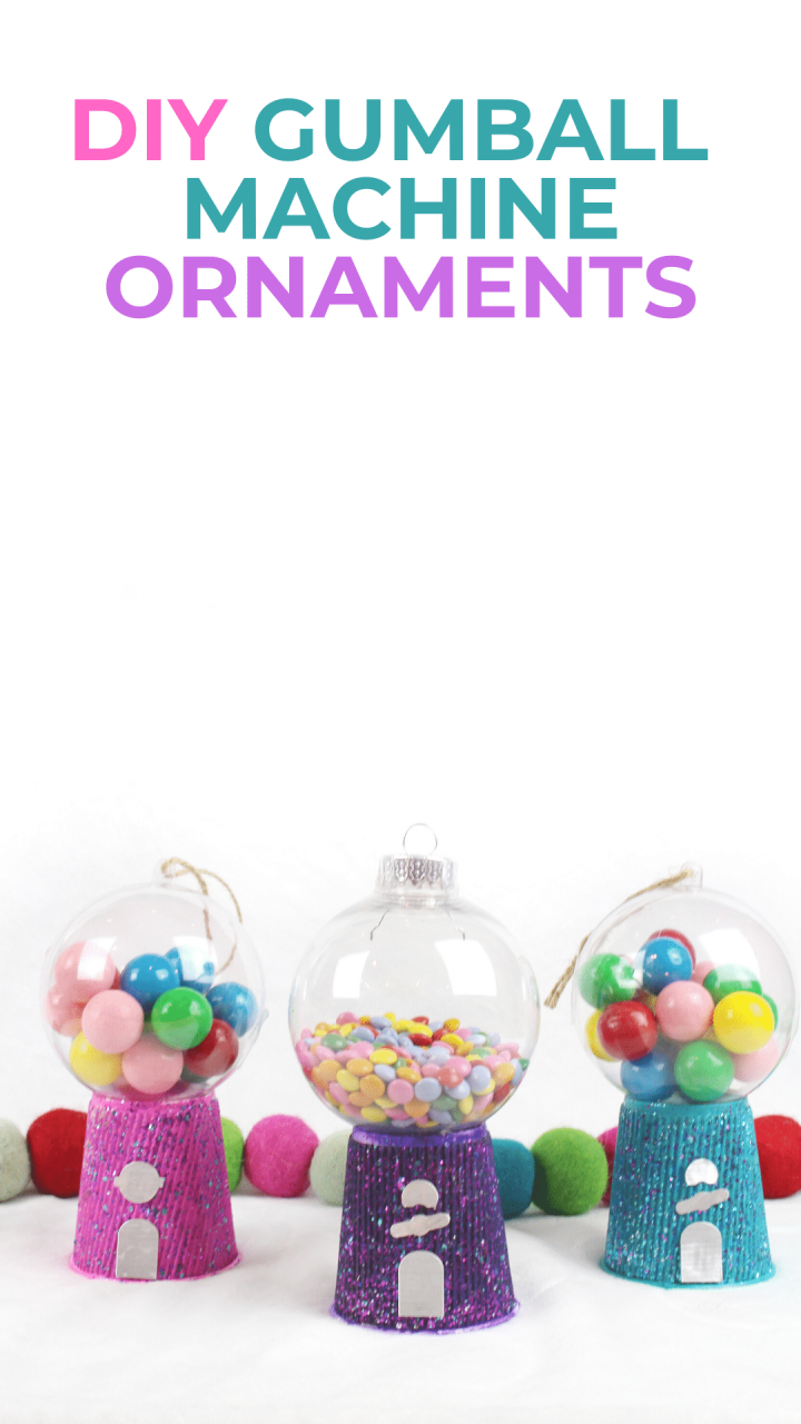 East kids craft - make this bright and colorful DIY Gumball Machine Ornament. Easy to make, kids will love seeing this on their Christmas Tree. via @brookeberry