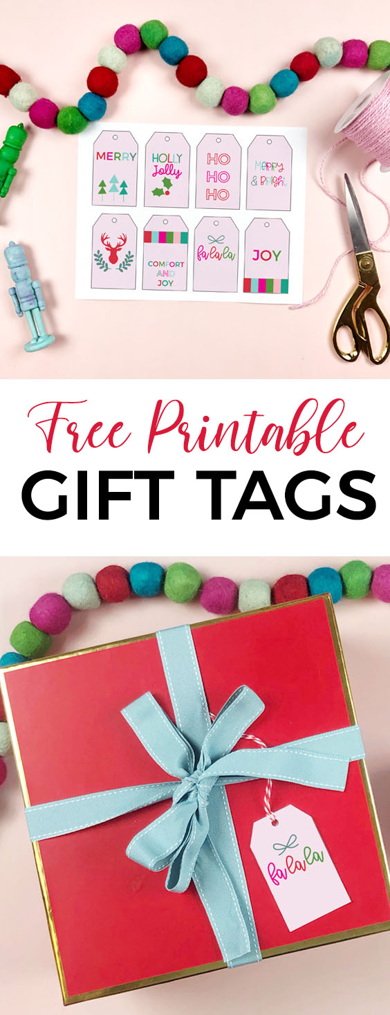 Get free Printable Christmas Gift Tags - in modern and bright colors. Perfect for Pink and Green Christmas Decor - just save, print and use! via @brookeberry