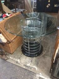 MID CENTURY GLASS ROUND TABLE
