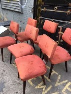 MID CENTURY 6 WOOD BASE CHAIRS