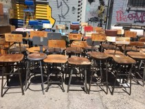 MASS OF INDUSTRIAL STOOLS