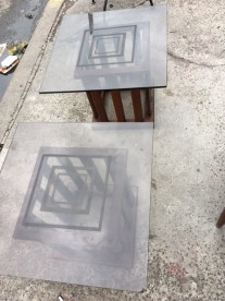 MID CENTURY GLASS SIDE TABLES TOP VIEW