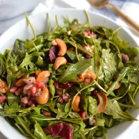 pickled beet and arugula salad with goat cheese and balsamic vinaigrette