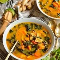 thai coconut curry soup with chicken and kale
