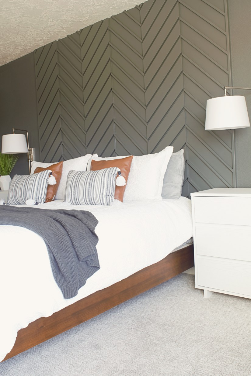 A Modern Master Bedroom Accent Wall - Brooklyn Nicole Home