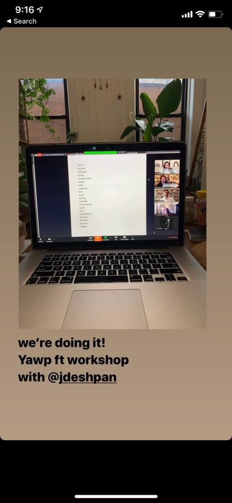 Yawp workshop on Zoom