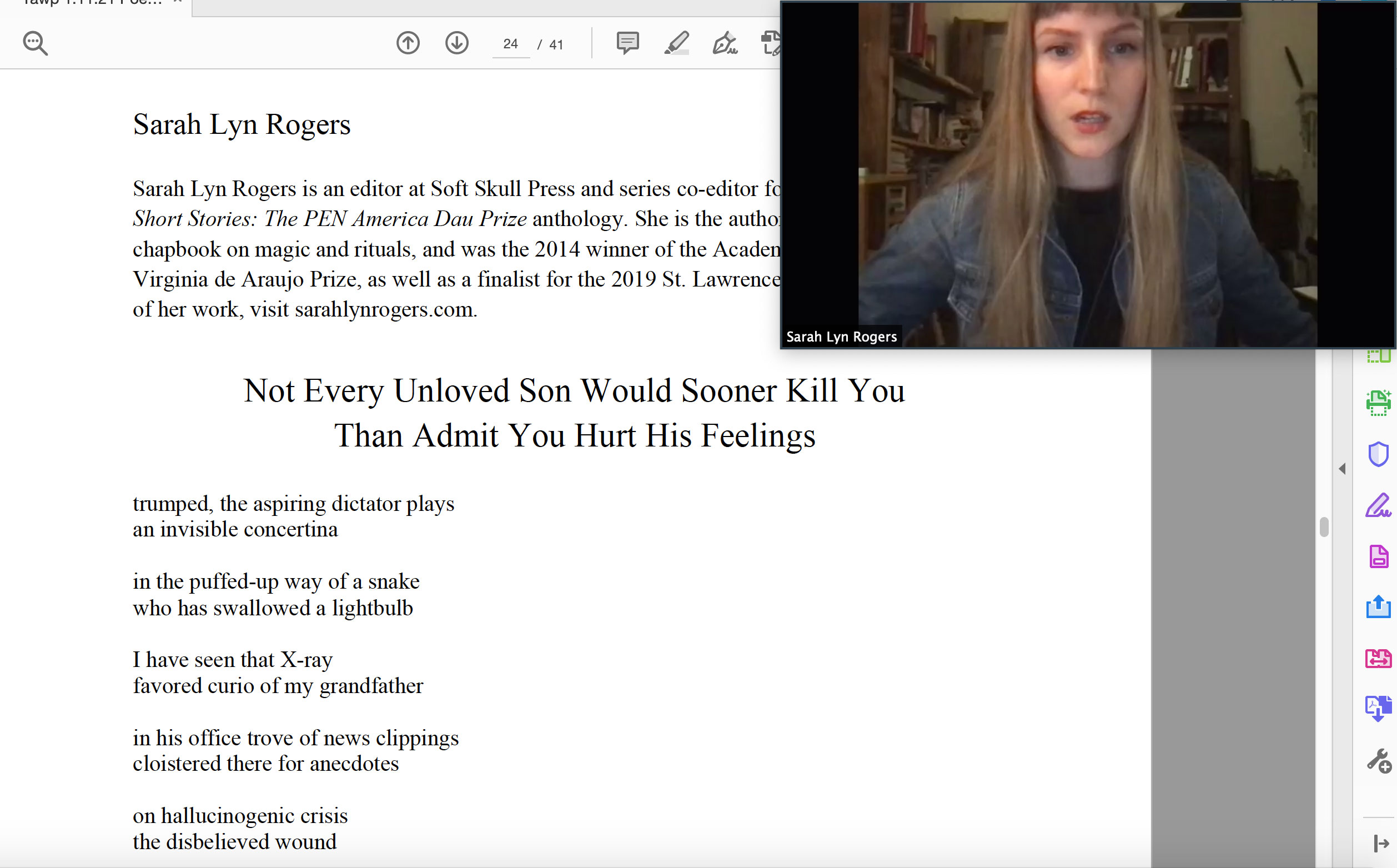 Sarah Lyn Rogers reads at the Yawp