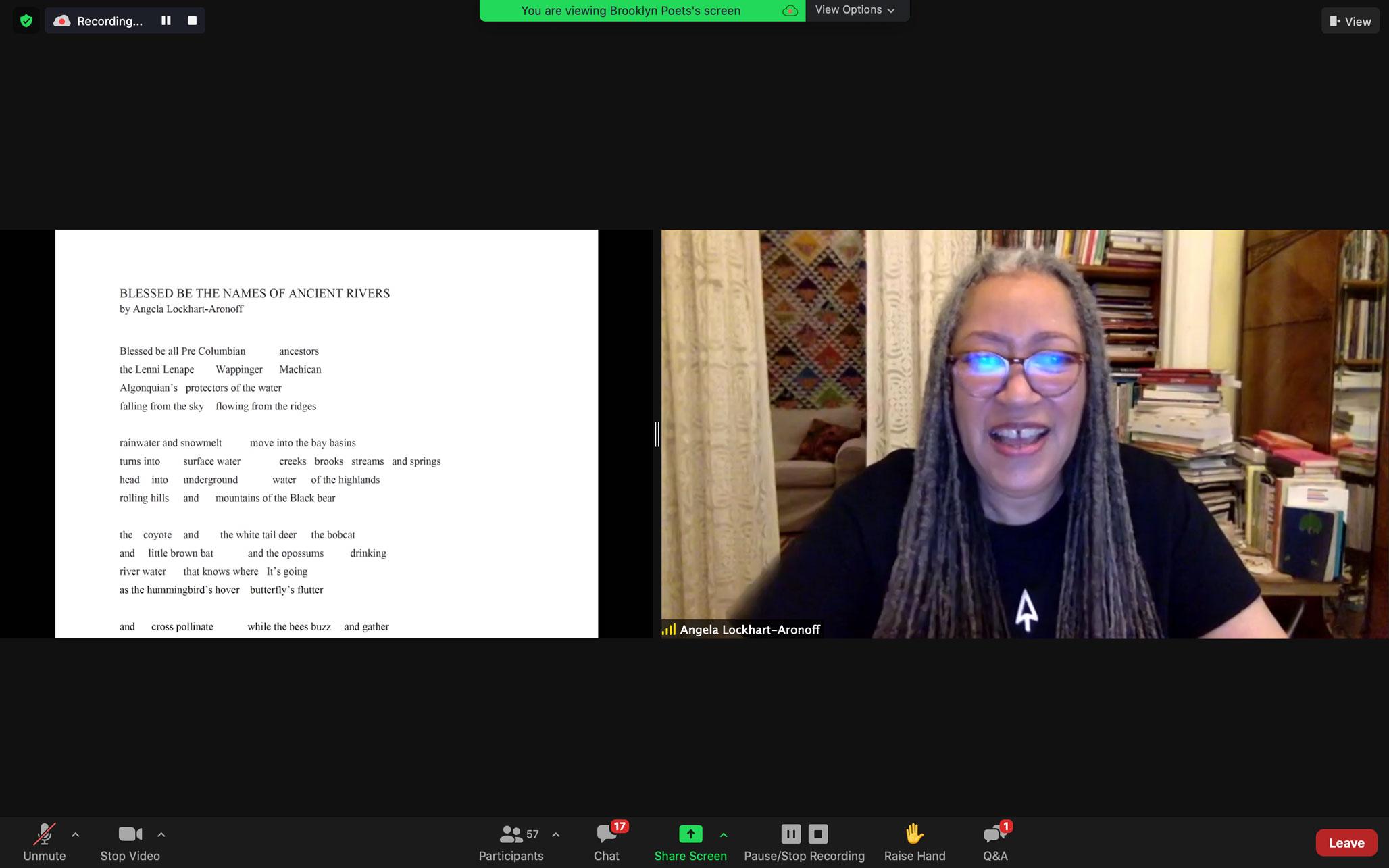 Angela Lockhart-Aronoff reads at Brooklyn Poets Workshop Showcase