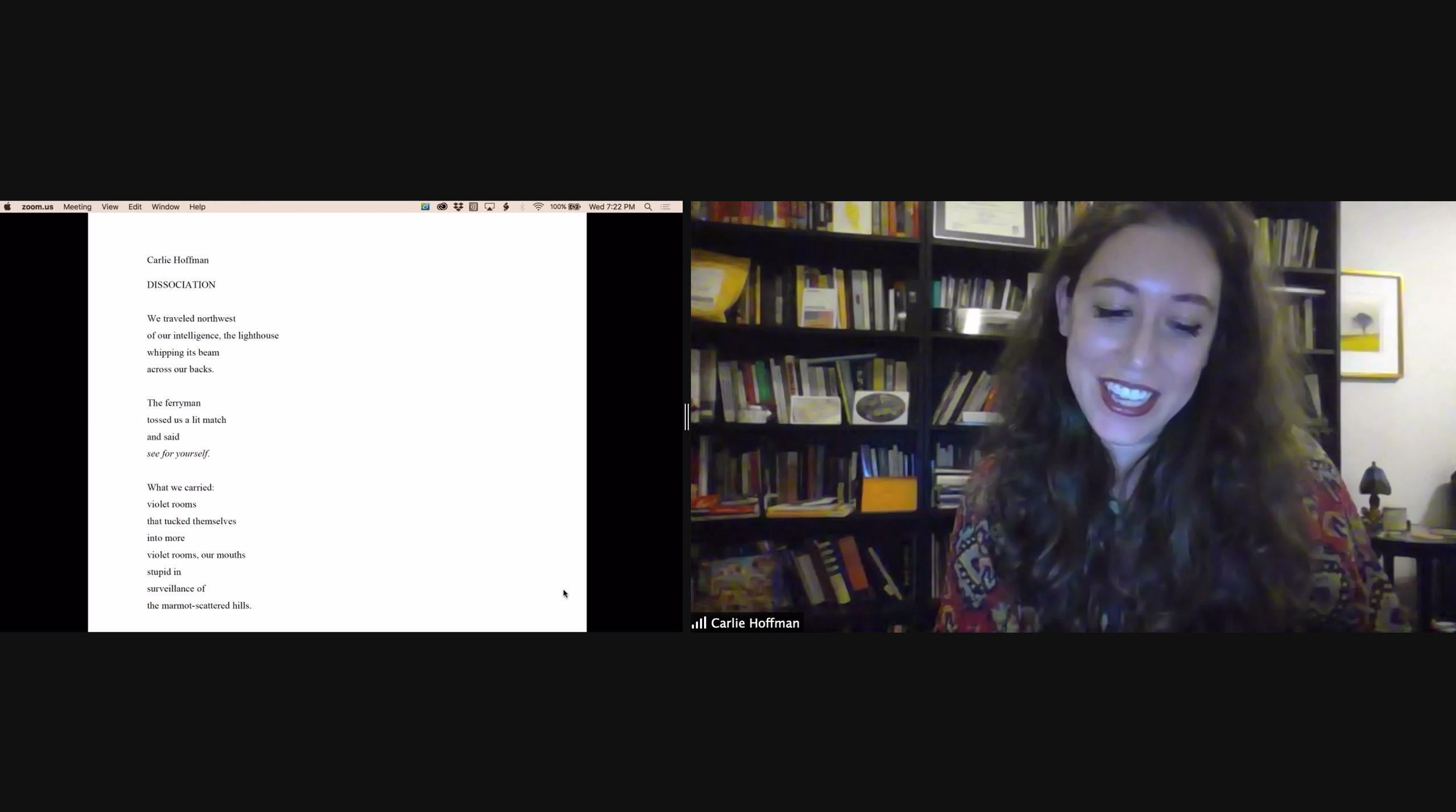 Carlie Hoffman reads for Brooklyn Poets Reading Series