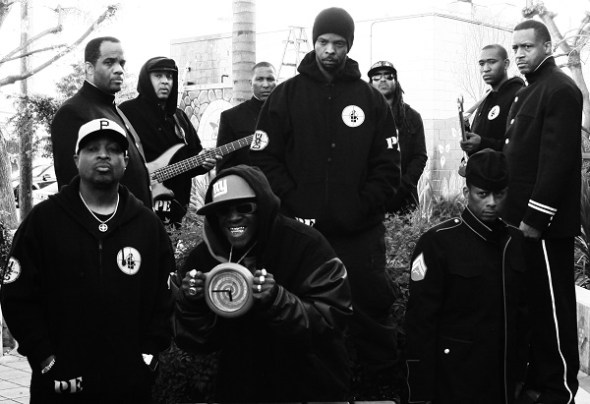 OfficialPUBLICENEMY2012 Photo by Piero F Giunti (front l-r Chuck D, Flavor Flav, Professor Griff, Back l-r S1W Mike Williams, Da